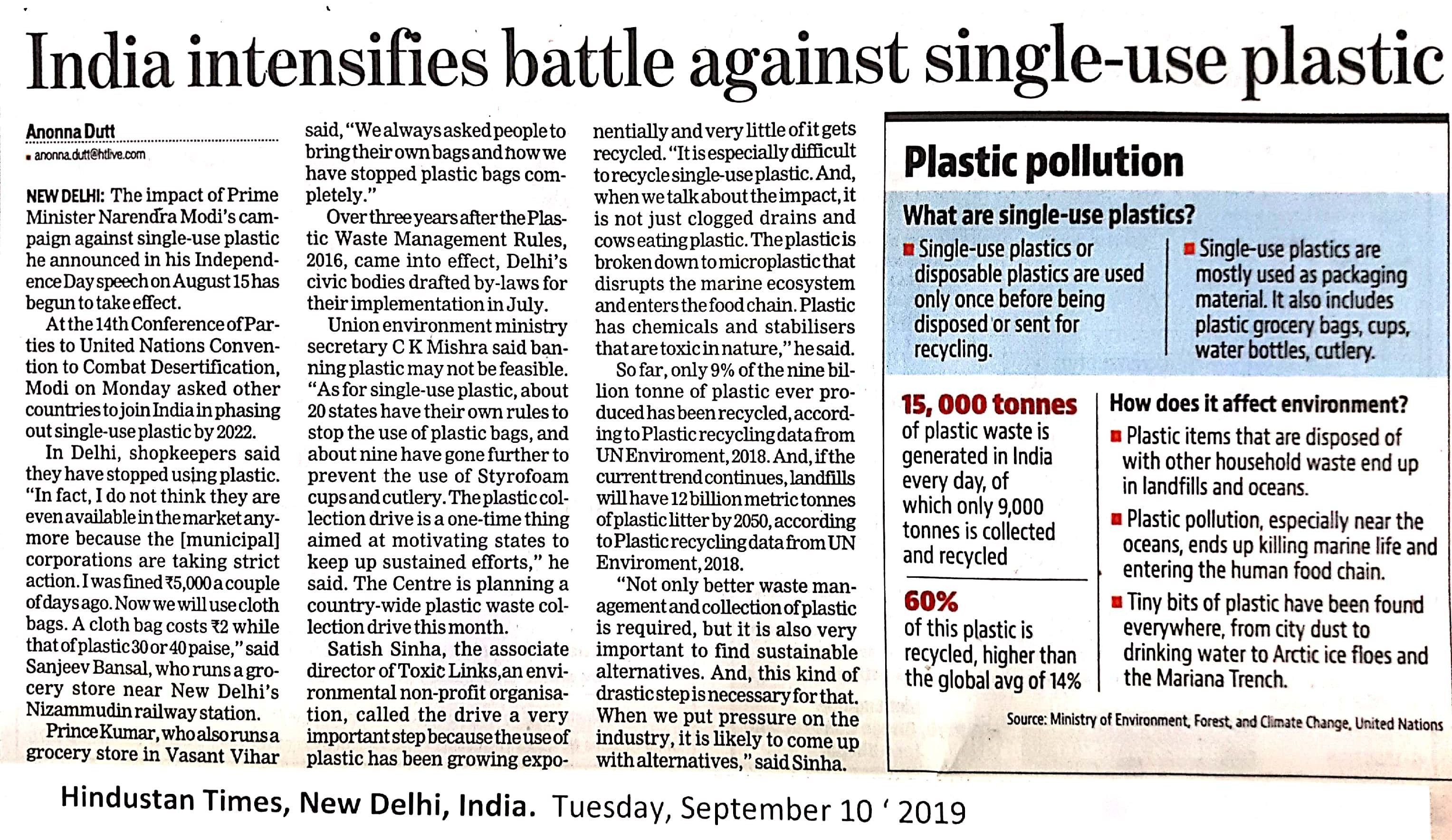 India intensifies battle against single-use plastic.