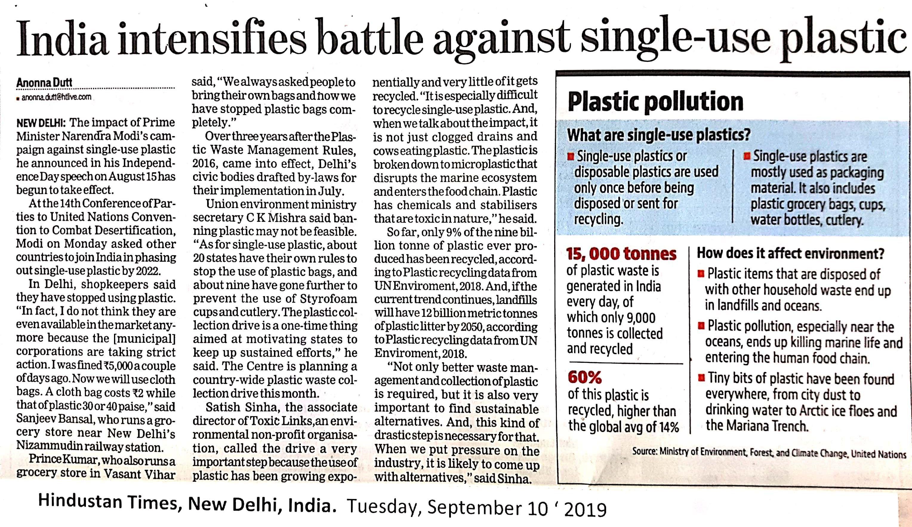 India intensifies battle against single-use plastic.