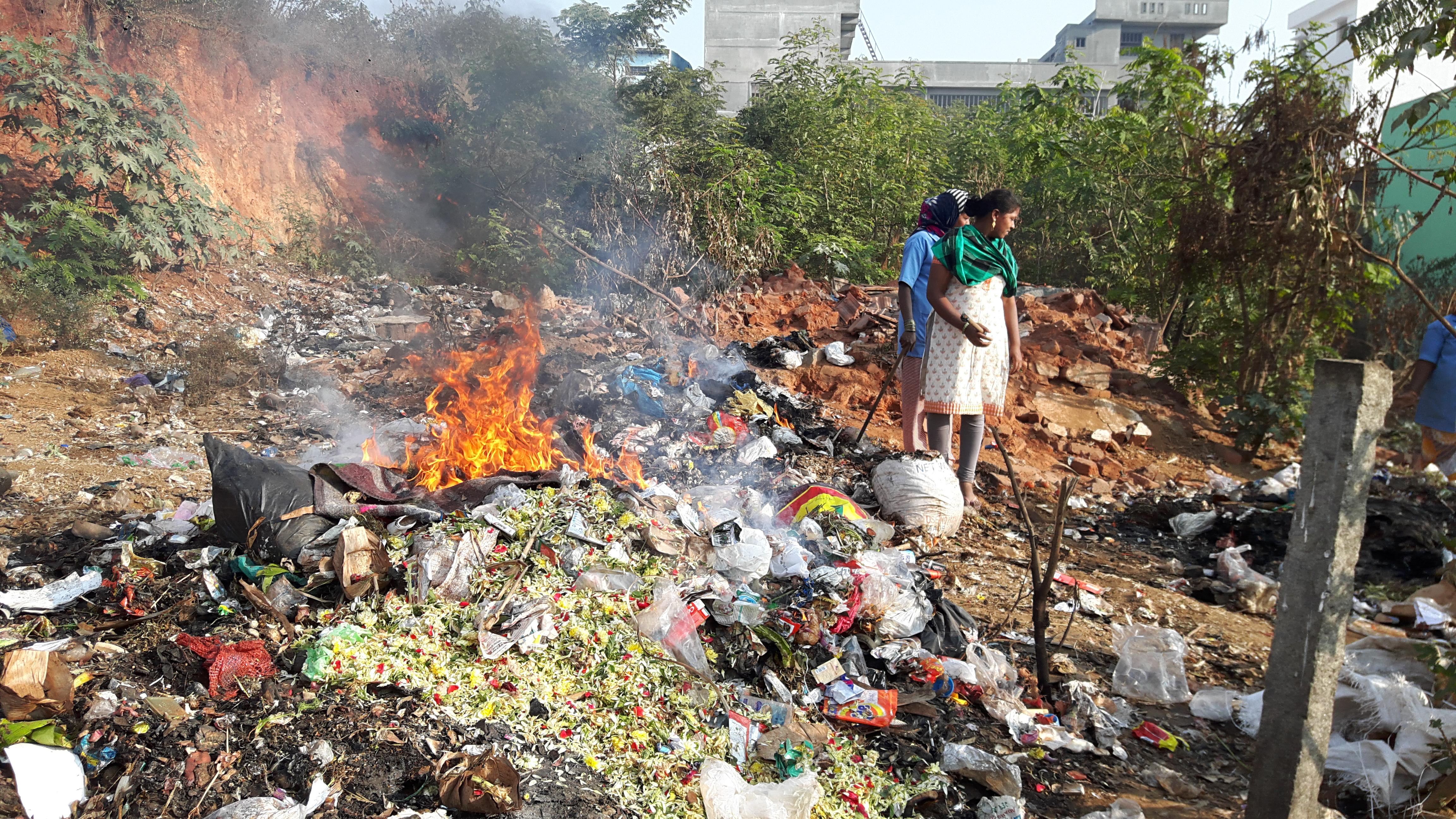 Plastic garbage being burnt